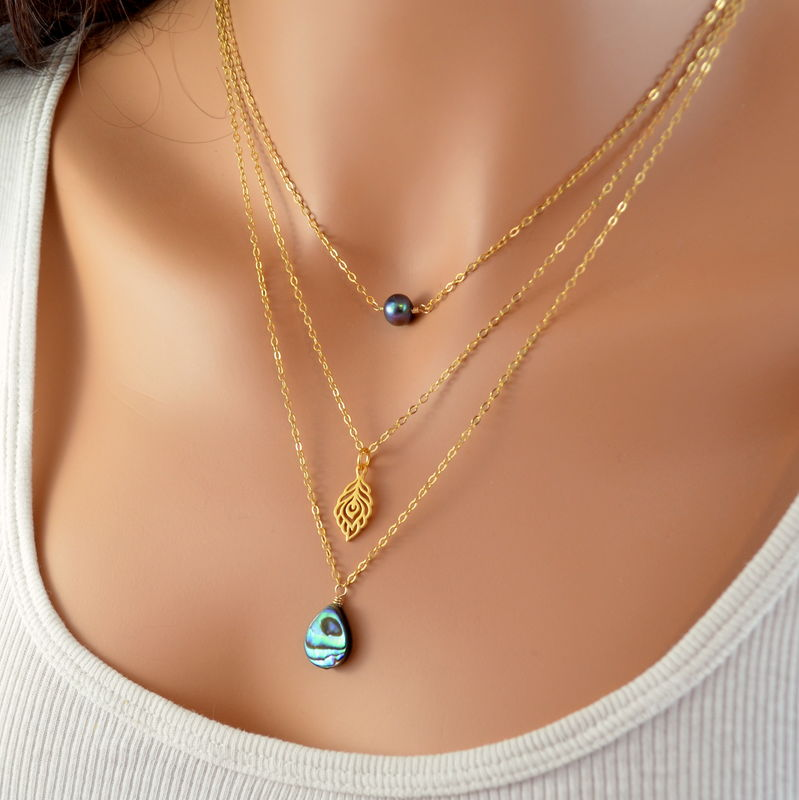 Abalone Freshwater Pearl and Peacock Layered Necklaces in Gold - product images  of