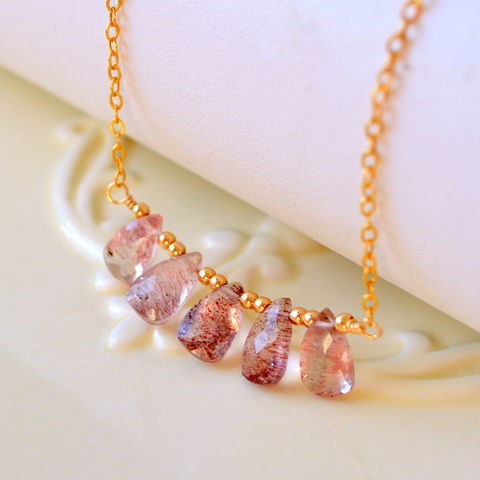 Lepidocrocite,Gemstone,Necklace,in,Gold,jewelry, necklace, lepidocrocite, lepidocrosite, gemstone, row, plum, gold, gold filled