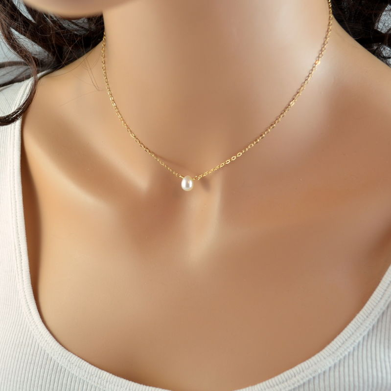 Simple White Pearl Choker Necklace in Gold or Sterling Silver - product images  of