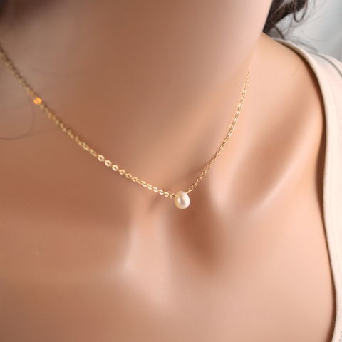 Simple,White,Pearl,Choker,Necklace,in,Gold,or,Sterling,Silver,jewelry, necklace, choker, gold, sterling silver, simple, delicate, dainty, freshwater pearl, real, genuine, white, ivory