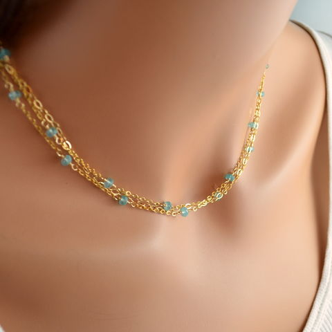 Apatite,Multistrand,Necklace,in,Gold,jewelry, necklace, apatite, gemstone, gold, sterling silver, multistrand, Summer, aqua