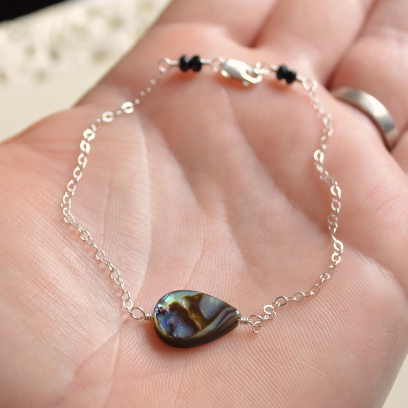 Dainty Abalone Bracelet in Sterling Silver - product images  of