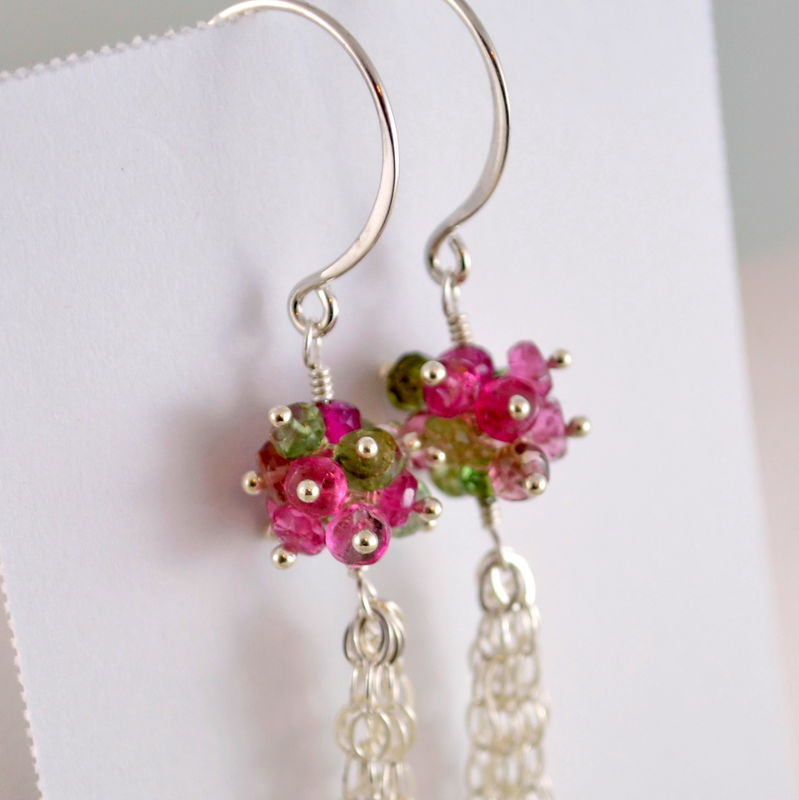Tourmaline Tassel Earrings in Sterling Silver - product images  of