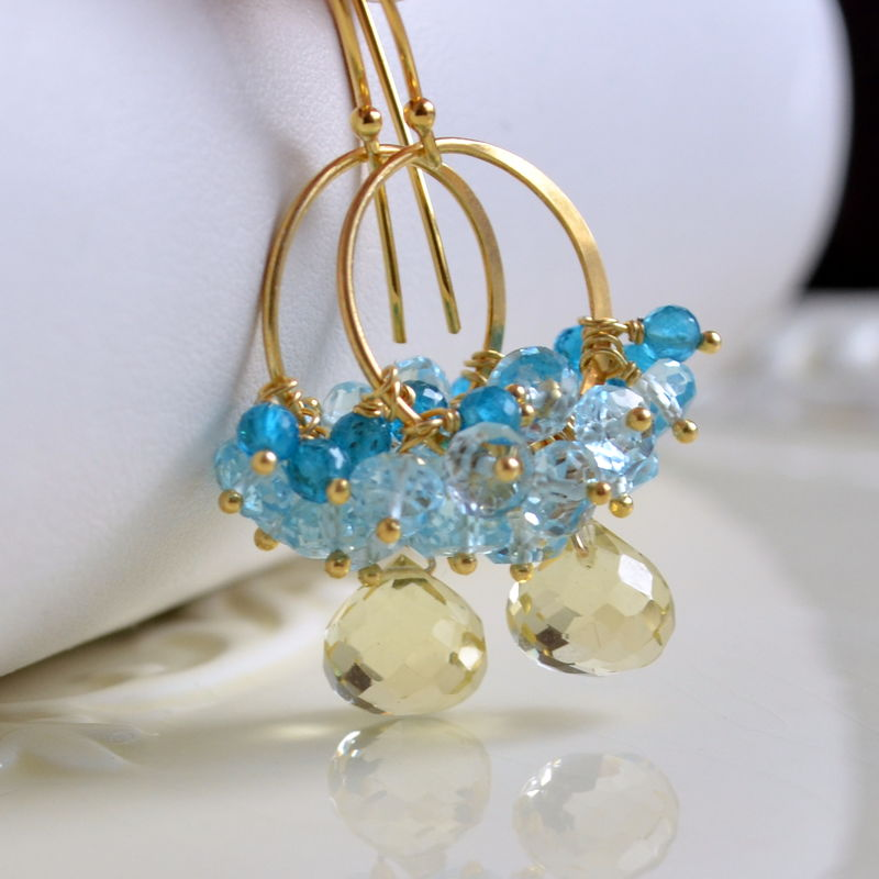 Lemon Quartz, Blue Topaz and Apatite Cluster Earrings in Gold - product images  of