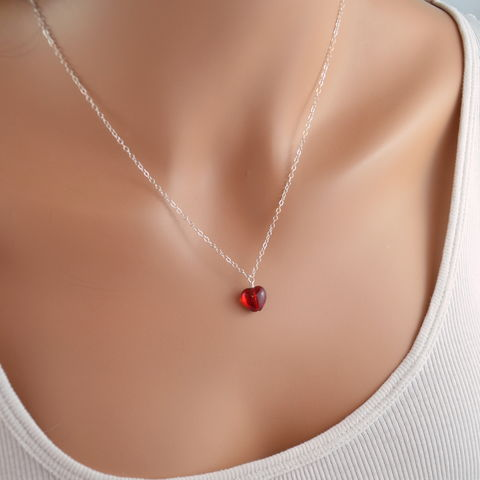 Red,Glass,Heart,Necklace,in,Sterling,Silver,jewelry, necklace, red, glass, heart, simple, Valentines Day, sterling silver, romantic