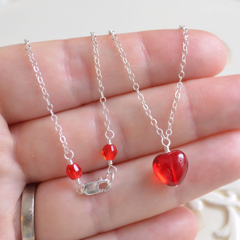 Red Glass Heart Necklace in Sterling Silver - product images  of