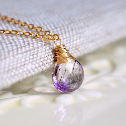 Moss,Amethyst,Necklace,Wire,Wrapped,in,Gold,jewelry, necklace, moss amethyst, gemstone, gold, gold filled, simple, semiprecious, wire wrapped