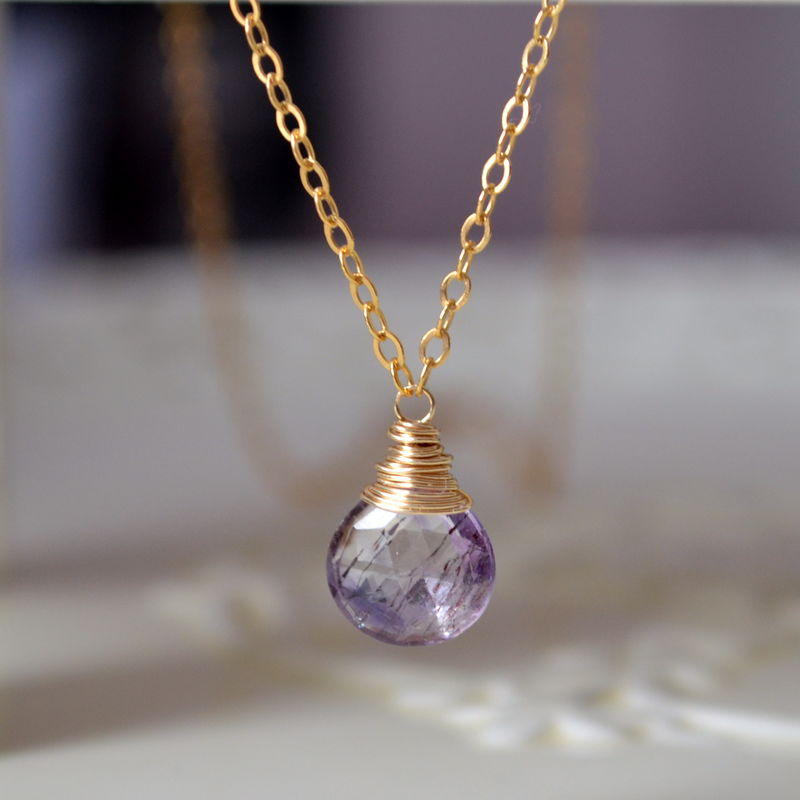 Moss Amethyst Necklace Wire Wrapped in Gold - product images  of