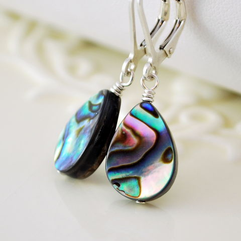 Simple,Abalone,Earrings,on,Sterling,Silver,Leverbacks,jewelry, earrings, abalone, shell, paua, leverback, lever, sterling silver, drop, simple, beach, summer