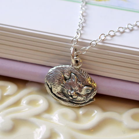 Cat,Necklace,for,Girls,in,Sterling,Silver,jewelry, necklace, cat, pet, kitty, sleeping, sterling silver, charm, birthstone, child, children, girl