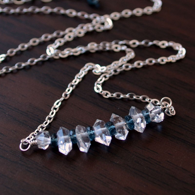 Herkimer Diamond and London Blue Topaz Necklace in Sterling Silver - product images  of