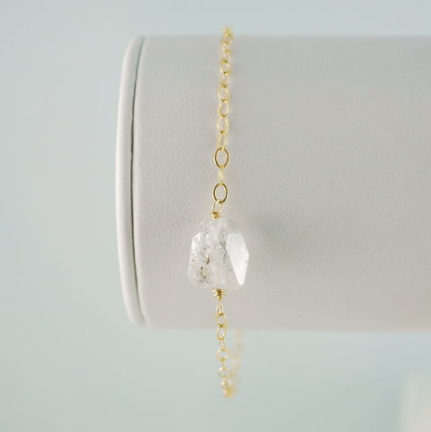 Raw,Herkimer,Diamond,Bracelet,in,Gold,jewelry, bracelet, herkimer diamond, gemstone, simple, gold, sterling silver, nugget