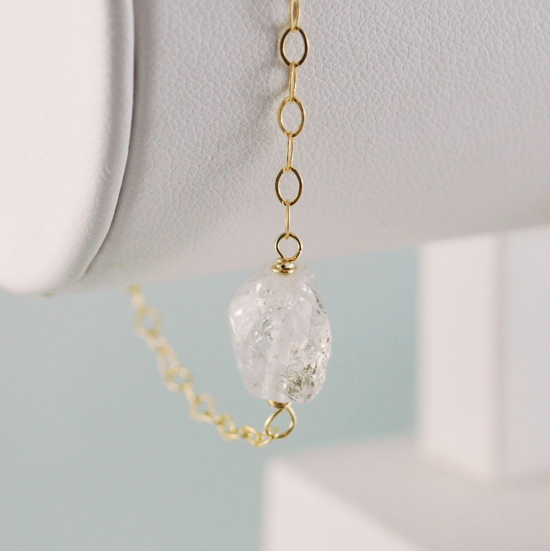 Raw Herkimer Diamond Bracelet in Gold - product images  of