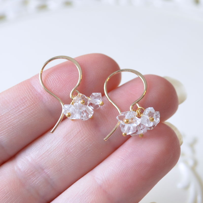 Herkimer Diamond Cluster Earrings in Gold or Sterling Silver - product images  of