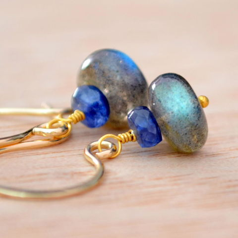 Kyanite,and,Labradorite,Drop,Earrings,in,Gold,jewelry, earrings, gold, labradorite, gemstone, kyanite, royal blue, gold filled