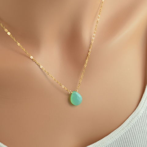 Bright,Aqua,Chalcedony,Necklace,in,Gold,jewelry, necklace, chalcedony, gemstone, bright aqua, green, gold, gold filled, simple