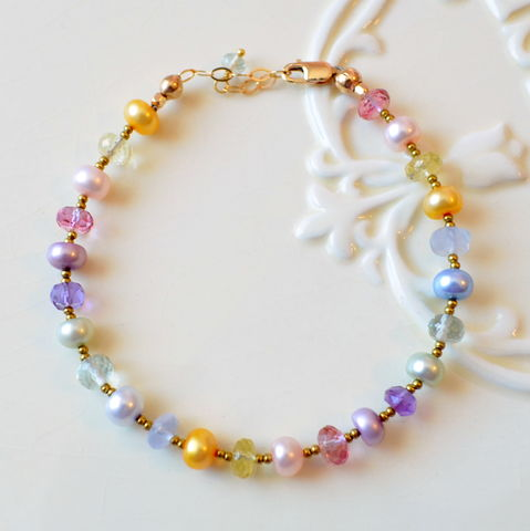 Pastel,Beaded,Bracelet,in,Gold,jewelry, bracelet, beaded, gemstone, freshwater pearl, Easter, Spring, pastel, gold, pink topaz, green amethyst
