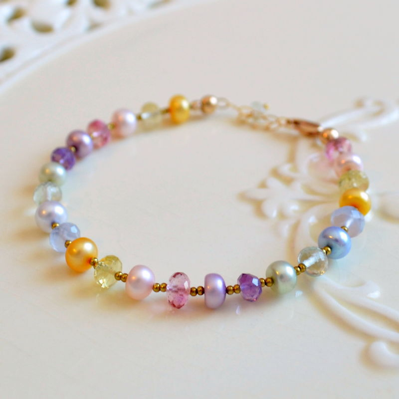 Pastel Beaded Bracelet in Gold - product images  of