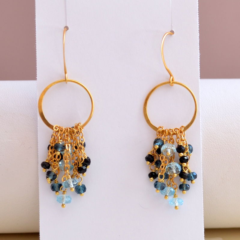 London Blue Topaz and Black Spinel Chandelier Earrings in Gold - product images  of