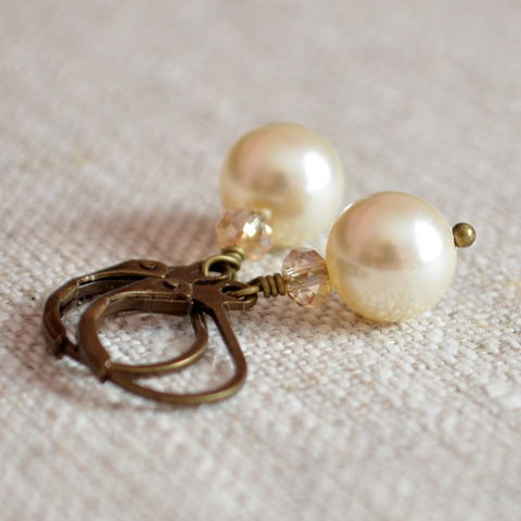 Ivory,Pearl,Bridal,Earrings,in,Antiqued,Brass,jewelry, earrings, swarovski, pearl, ivory, crystal, antiqued brass, rustic, wedding, bridal