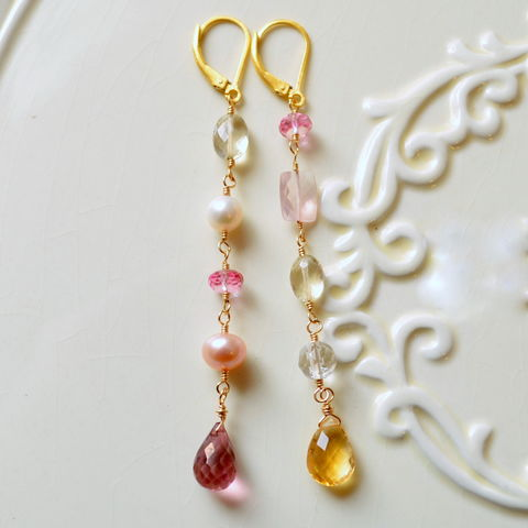 Long,Mismatched,Gemstone,Earrings,in,Gold,jewelry, earrings, mismatched, unmatched, non matching, gold, vermeil, long, dangle, gemstone, pink topaz, citrine, crystal quartz, freshwater pearl, scapolite