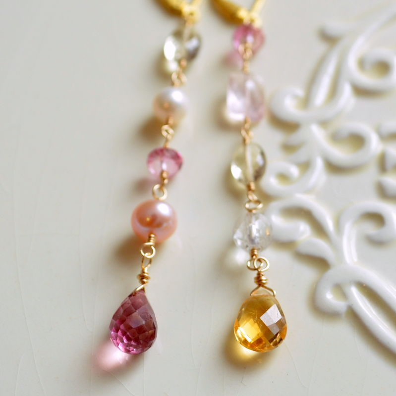 Long Mismatched Gemstone Earrings in Gold - product images  of