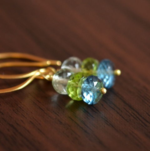 Blue,and,Green,Gemstone,Earrings,in,Gold,jewelry, earrings, gemstone, peridot, green amethyst, london blue topaz, gold, vermeil, drop