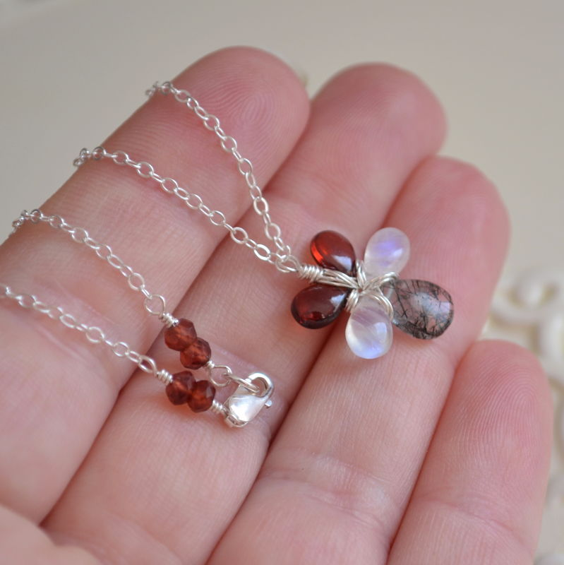Floral Gemstone Necklace in Sterling Silver - product images  of