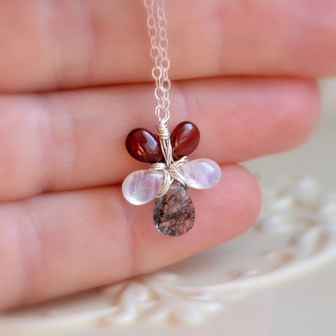 Floral,Gemstone,Necklace,in,Sterling,Silver,gemstone necklace, gemstone jewelry, sterling silver, silver necklace, flower necklace, wire wrapped, handmade jewelry, handmade necklace, garnet jewelry