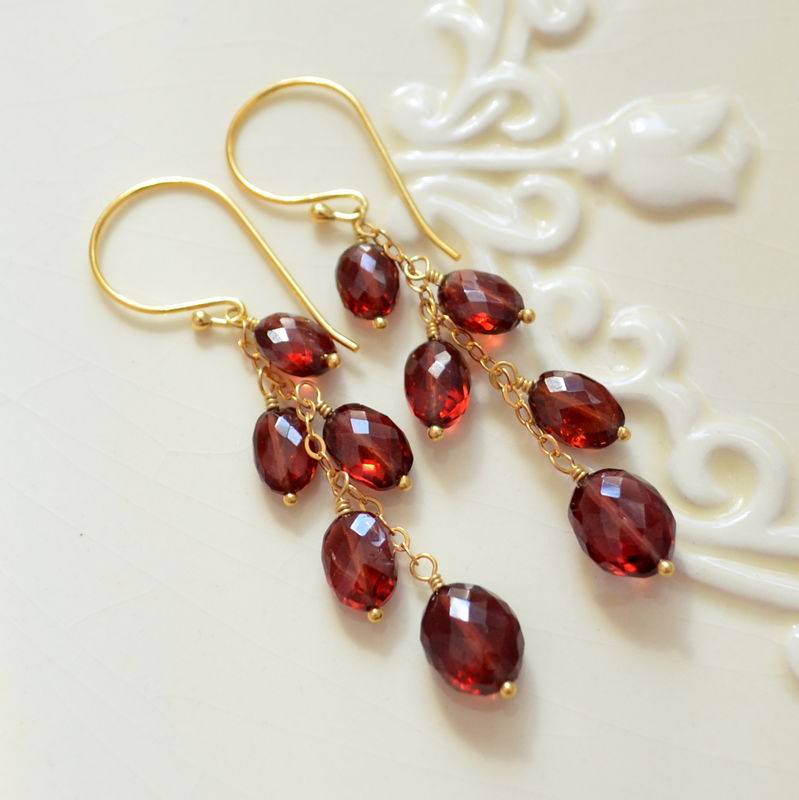 Genuine Garnet Dangle Earrings in Gold - product images  of