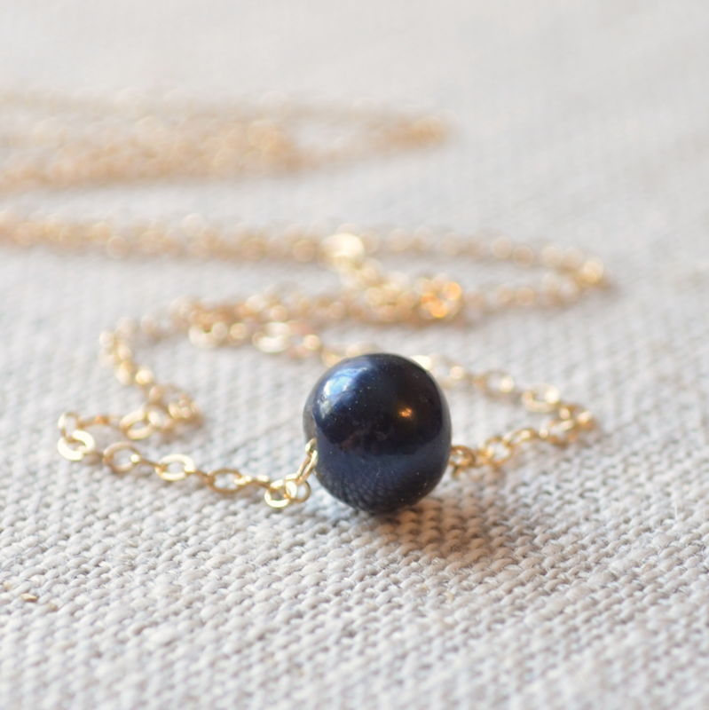 Black Floating Pearl Necklace in Gold or Silver - product images  of
