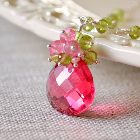 Coral,Pink,and,Peridot,Necklace,in,Gold,or,Sterling,Silver,peridot necklace, peridot jewelry, gemstone necklace, gemstone jewelry, coral pink, gold necklace, sterling silver