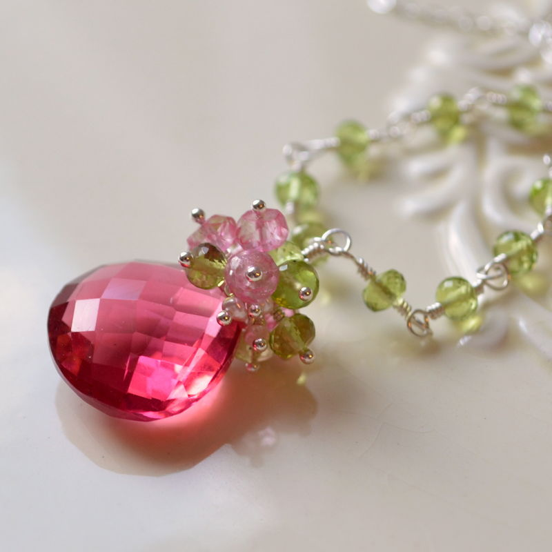 Coral Pink and Peridot Necklace in Gold or Sterling Silver - product images  of