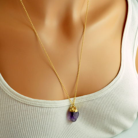 Long,Amethyst,Pendant,Necklace,in,Gold,raw amethyst, rough amethyst, amethyst necklace, amethyst jewelry, gold necklace, pendant necklace, gemstone necklace, gemstone pendant