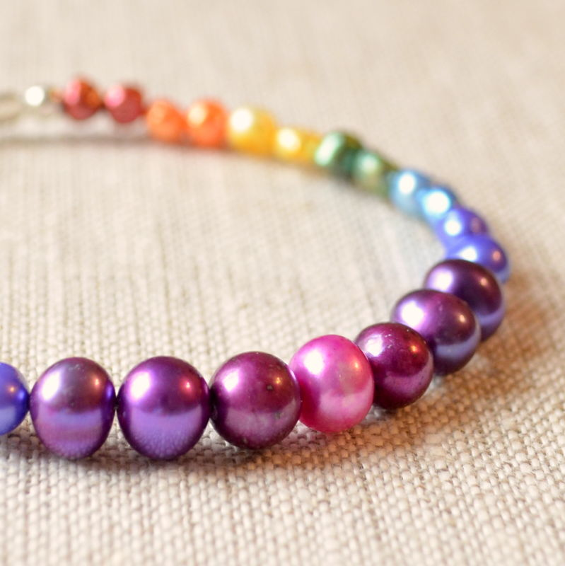 Freshwater Pearl Rainbow Bracelet in Sterling Silver - product images  of