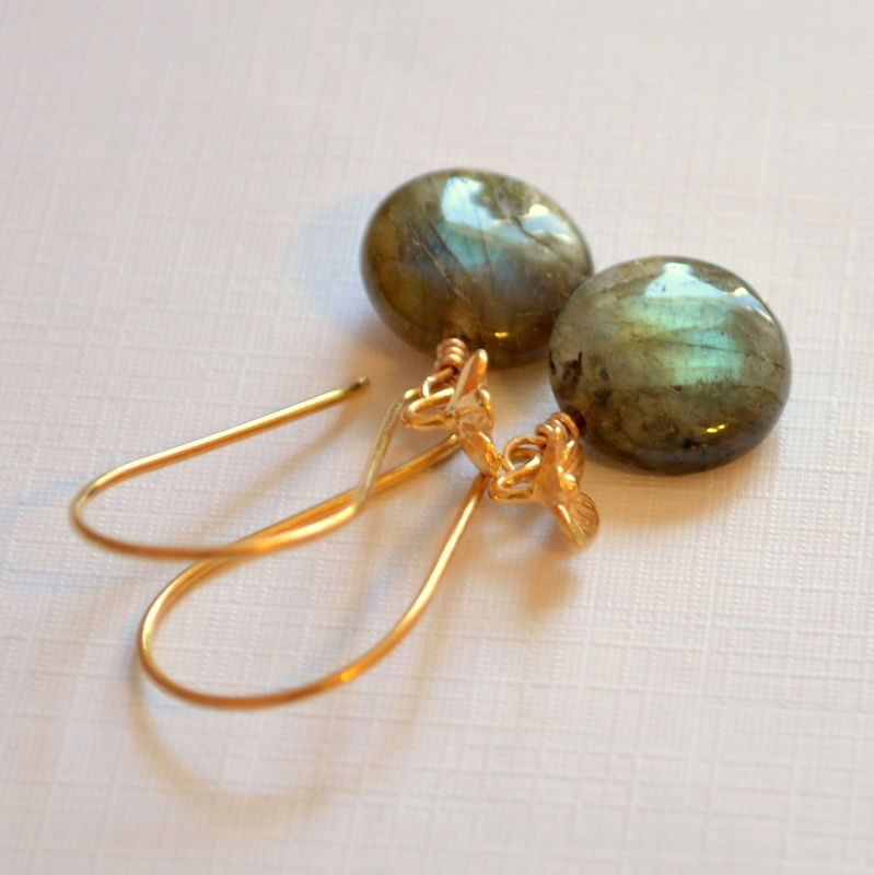 Coin Shaped Labradorite Earrings in Gold Vermeil - product images  of