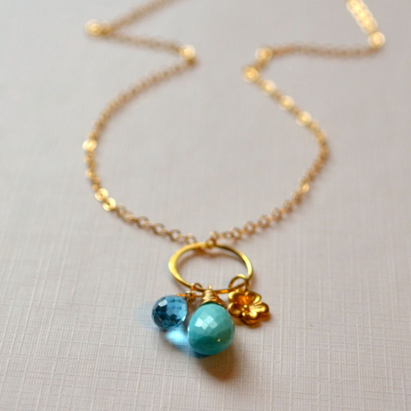 Sleeping Beauty Turquoise Necklace with Blue Topaz in Gold - product images  of