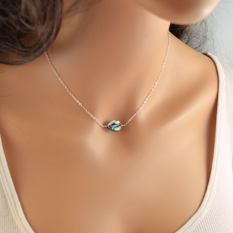 Simple Abalone Necklace in Sterling Silver - product images  of