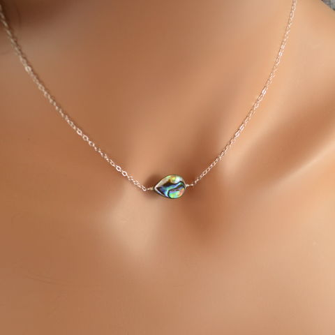 Simple,Abalone,Necklace,in,Sterling,Silver,abalone necklace, abalone choker, abalone jewelry, sterling silver, silver choker, silver necklace, summer jewelry, shell necklace