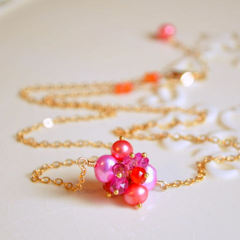 Bright,Cluster,Necklace,,Orange,and,Pink,,in,Gold,pink necklace, orange necklace, gold necklace, gemstone choker, gemstone jewelry, pearl necklace, pearl choker