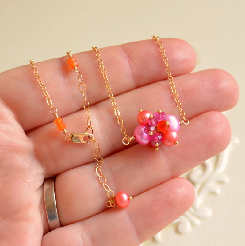 Bright Cluster Necklace, Orange and Pink, in Gold - product images  of
