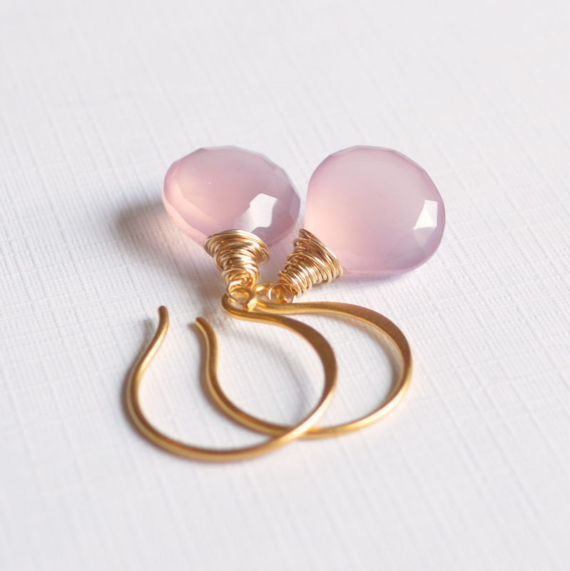 Pink Drop Earrings in Gold Vermeil - product images  of