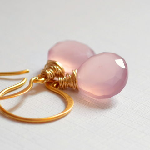 Pink,Drop,Earrings,in,Gold,Vermeil,pink earrings, pink jewelry, chalcedony earrings, gemstone earrings, gemstone jewelry, gold earrings, drop earrings, gold vermeil
