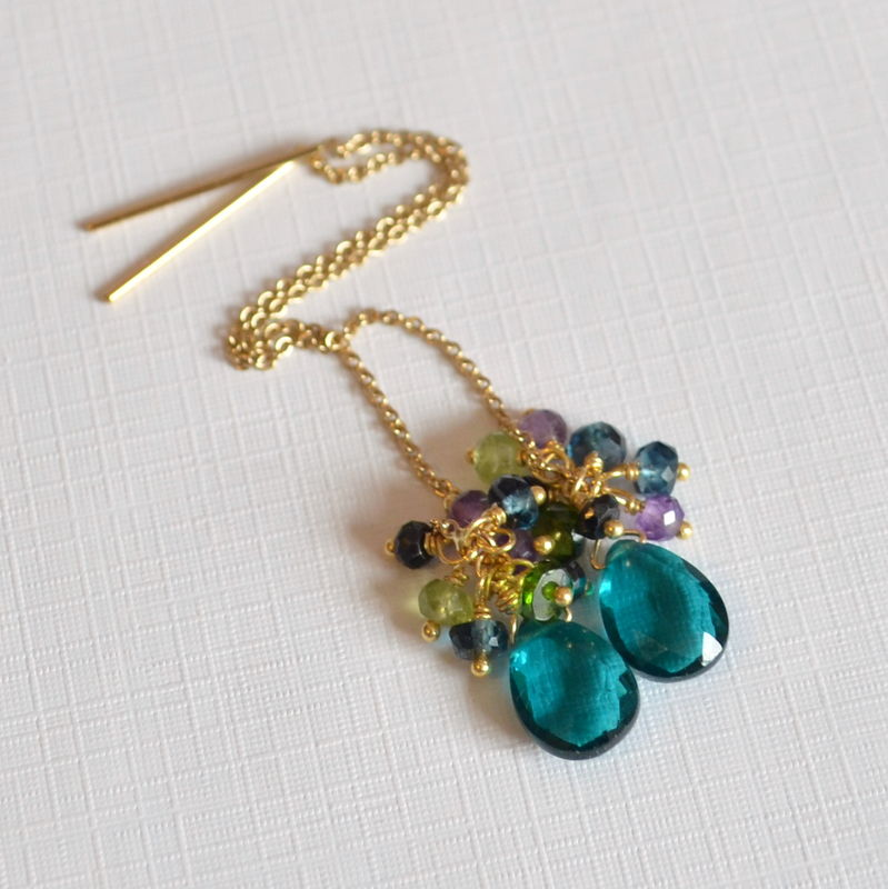 Teal Quartz Threader Earrings in Gold or Silver - product images  of
