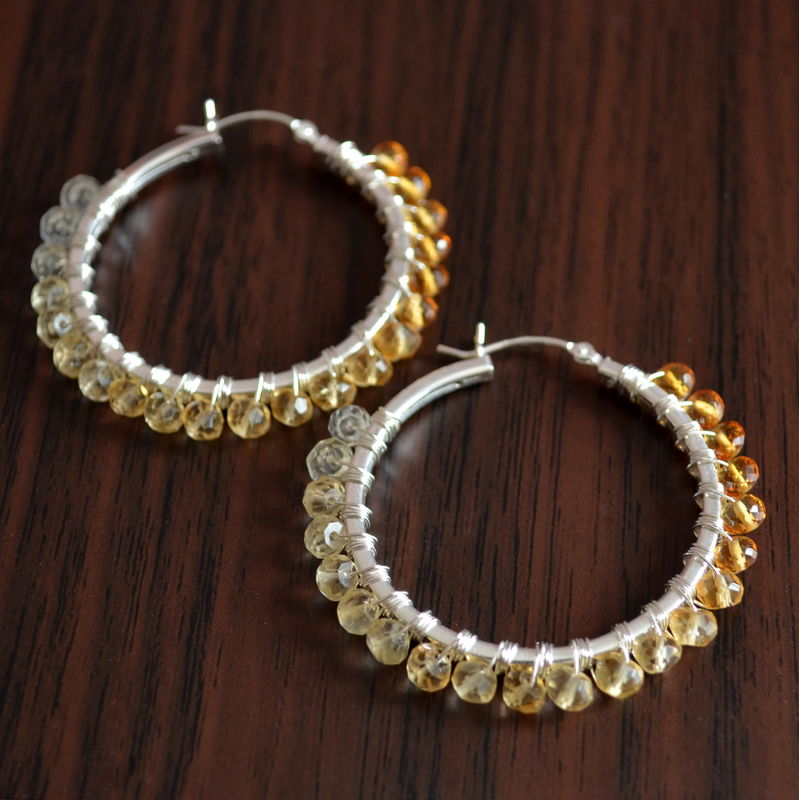 Shaded Citrine Hoops in Sterling Silver - product images  of