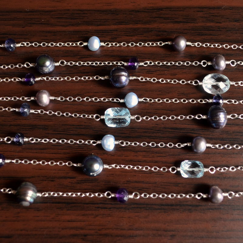 Long Gemstone and Pearl Necklace in Sterling Silver - product images  of