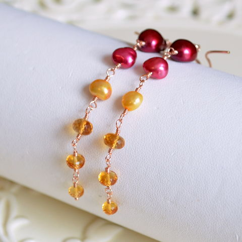 Long,Citrine,and,Pearl,Earrings,in,Rose,Gold,citrine earrings, citrine jewelry, pearl earrings, Fall jewelry, Autumn jewelry, rose gold earrings