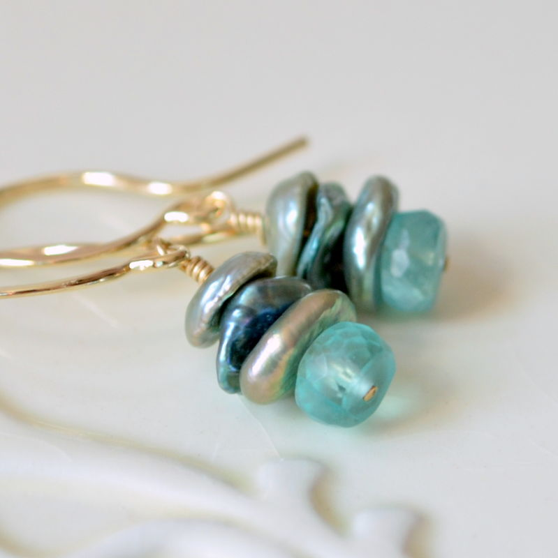 Teal Earrings with Apatite Gemstones and Keishi Pearls in Gold - product images  of