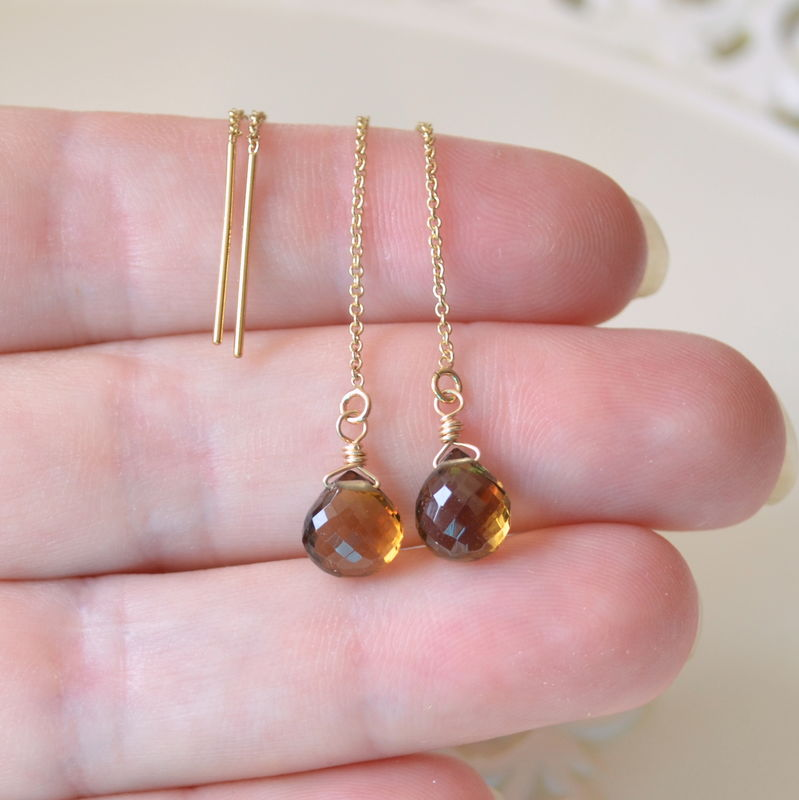 Beer Quartz Threader Earrings in Gold - product images  of