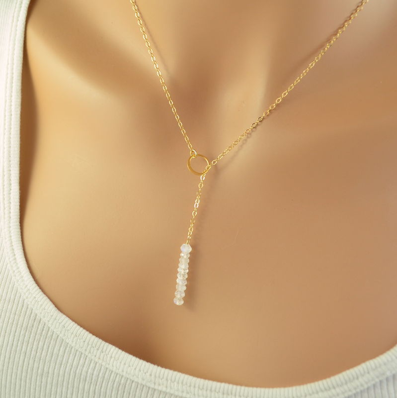 Modern Moonstone Lariat Necklace in Gold - product images  of